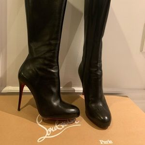 Louboutin high black leather boots